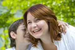 With mama. Portrait of a young boy with his mother in summer environment Royalty Free Stock Photos