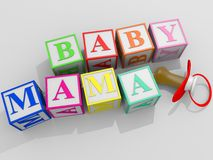 Mama Baby. Cubes forming the words Mama and Baby Stock Image