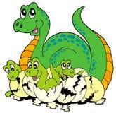 Mama del dinosaurio con los bebés lindos Foto de archivo
