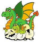 Mama del dragón con el bebé y los huevos stock de ilustración