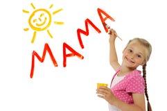 Mama di parola di scrittura della bambina Fotografie Stock