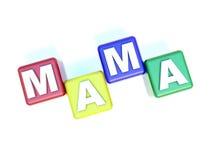 MAMA do texto nos blocos da criança Foto de Stock