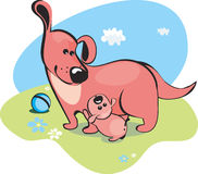 Mama dog. And the baby-puppy Royalty Free Stock Photography
