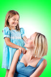 Mama e hija felices Fotos de archivo libres de regalías