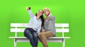 Mama i córka robimy selfie zielony ekran zdjęcie wideo