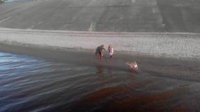 Mama i c?rka, bieg, sztuka z br?zu psa labradorem na pla?y rzek? Powietrzna ekranizacja zbiory