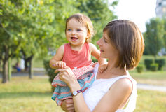 Mama i jeden roczniak córka Zdjęcia Royalty Free
