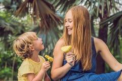 Mama i syn pinkin w parku Je zdrowe owoc mango, ananas i melon -, Dzieci jedzą zdrowego jedzenie zdjęcia stock