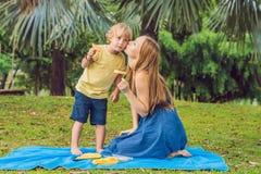 Mama i syn pinkin w parku Je zdrowe owoc mango, ananas i melon -, Dzieci jedzą zdrowego jedzenie zdjęcie royalty free
