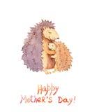 Mama jeż ściska jej małego dziecka Karta dla Macierzystego ` s dnia z zwierzęcą rodziną akwarela Obraz Stock