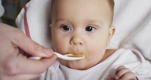 Mama karmi ona małych 8 miesięcy starego dziecka od łyżki zbiory wideo