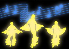 Mama Mia Dancers. Dancers moving in disco attire against a backdrop of glowing music notes Royalty Free Stock Image