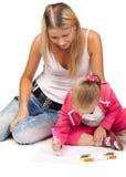Mama mit einem Tochterabgehobenen betrag eine Abbildung Stockfotografie