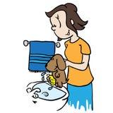 Mama myje psa royalty ilustracja