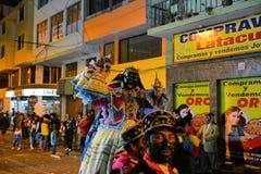 Mama Negr na koniu przy tradycyjnym Latacunga Zdjęcia Royalty Free