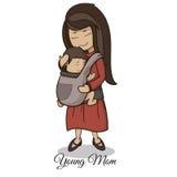 mama niesie dziecka używa przyrządu dziecka przewoźnika, dziecka być ubranym i doczepiania przydatnych, wychowywa pojęcie Obraz Stock