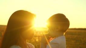 Mama opowiada z jej małą córką, dziecko siedzi na rękach matka w promieniach piękny słońce swobodny ruch zdjęcie wideo
