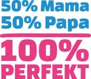 50% Mama 50% Papa 100% Perfect german. Vector Royalty Free Stock Photos