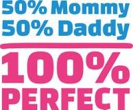 50% Mama 50% Papa 100% Perfect. Vector Royalty Free Stock Images
