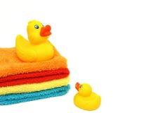 Mama y bebé amarillos Duckies de goma aislado Imagen de archivo libre de regalías