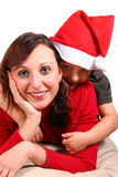 Mama y la Navidad que espera de I para foto de archivo