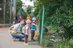 Mama z dziećmi w zoo Obraz Stock
