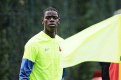 Mamadou Tounkara training with F.C Barcelona youth team against Gimnastic de Tarragona at Ciutat Esportiva Joan Gamper Royalty Free Stock Photo