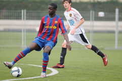 Mamadou Tounkara training with F.C Barcelona youth team against Gimnastic de Tarragona at Ciutat Esportiva Joan Gamper Royalty Free Stock Image