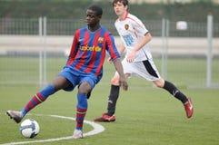 Mamadou Tounkara training with F.C Barcelona youth team against Gimnastic de Tarragona at Ciutat Esportiva Joan Gamper Royalty Free Stock Image