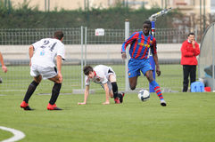 Mamadou Tounkara training with F.C Barcelona youth team against Gimnastic de Tarragona at Ciutat Esportiva Joan Gamper Royalty Free Stock Photos