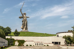 Mamaev Kurgan in Volgograd. Volgograd, a memorial complex Mamaev Kurgan. The view of the monument The Motherland calls! with Heroes' square Stock Photos