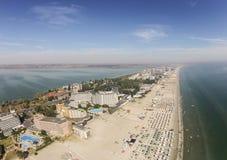 Mamaia在黑海海岸的度假胜地,罗马尼亚 库存照片