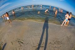 Mamaia海滩fisheye视图 图库摄影