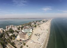 Mamaia on the Black Sea Coast , Romania. Aerial view of the main strip of Mamaia holiday resort area, a top travel destination in summer , on the Black Sea Coast Stock Images