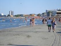 Mamaia, Romania – August 29, 2014: People enjoying vacation in Mamaia resort, on the Black Sea coast, in Romania Royalty Free Stock Photo