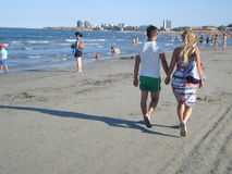 Mamaia, Romania – August 29, 2014: People enjoying vacation in Mamaia resort, on the Black Sea coast, in Romania Stock Images