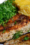 Mamaliga with grilled fish Stock Images