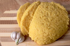 Mamaliga (polenta) with garlic Royalty Free Stock Photo