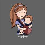 Maman avec un enfant dans un transporteur de bébé illustration de vecteur