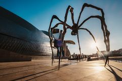 Maman - is a bronze, stainless steel, and marble sculpture on th. E Bilbao embankment near the Guggenheim Museum, Spain Royalty Free Stock Images