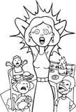 Maman chargée à la maison - noire et blanche Photos stock
