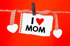 Maman d'amour d'I écrite par message Images stock