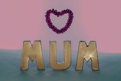 Maman dans des lettres d'or avec le cadre rose de coeur d'amour Seul arbre congelé Photos stock