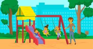 Maman de bande dessinée avec des enfants en parc de ville Photographie stock