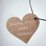 Maman de della de festa de Buona, jour de mères heureux en italien Images libres de droits