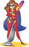 Maman de superhéros - cuisson multitâche de nettoyage de mère Image stock