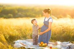 Maman enceinte et son beau petit fils à un pique-nique Photo stock