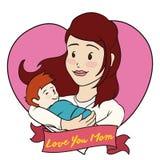 Maman et bébé à l'intérieur d'un coeur pour le jour de mère, illustration de vecteur Photos libres de droits