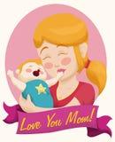Maman et bébé blonds avec un ruban pour le jour de mère, illustration de vecteur Photographie stock