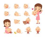 Maman et chéri Étapes de développement de bébé Image libre de droits